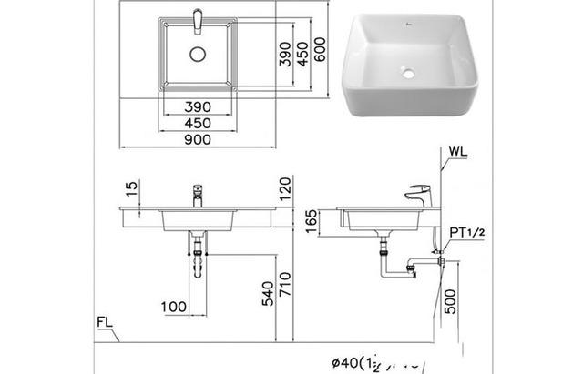 kích thước lavabo vuông
